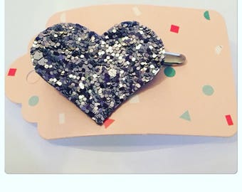 """✨✨Mettez glitter in your hair barrette """"heart"""" canvas with gray glitter"""