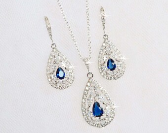 Striking Sapphire Blue Cubic Zirconia CZ Bridal Necklace and Earring Set, Bridal, Wedding (Sparkle-2302)