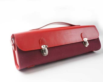 Red canvas music bag