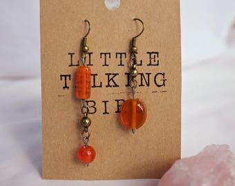 Orange Glass Earrings