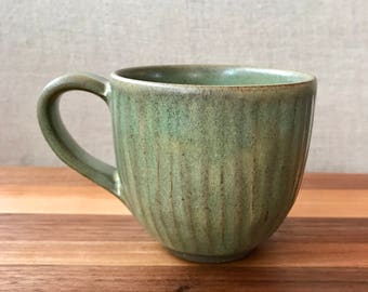 Handcarved stoneware coffee cup / tea cup