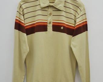 Hang Ten Polo Shirt Hang Ten Shirt Vintage 90's Hang Ten Multicolor Stripes Long Sleeve Polo Tee T Shirt Size M