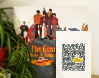 Our Friends Are All On Board, original linocut print, yellow submarine, the beatles