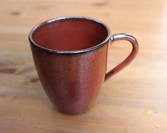 Red Coffee Mug, tea cup, stoneware, ceramic cup, wheel thrown cup, handmade pottery, gift