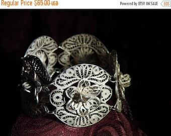 ON SALE stunning rare chunky 1920s early mexican sterling silver filigree 3d flower bracelet 7 inches
