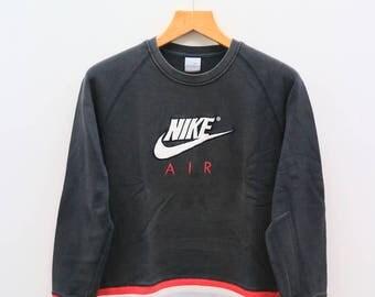 Vintage NIKE Air Big Logo Big Spell Sportswear Black Pullover Sweatshirt Sweater Size L
