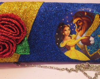 Beauty & The Beast Clutch Bag/Glitter Bag/Decoupage Bag/Crystal Gems