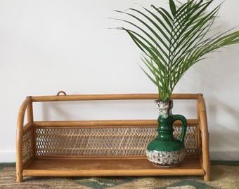 70s rattan bamboo shelf