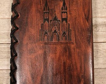 Refillable Leather Journals - A5 Journal Hand-Carved - Multiple Designs Available - Makes a great Journal Gift! Ready to ship!
