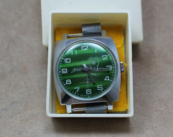 """Vintage soviet men's mechanical watches ''ZIM"""" Olympic games 1980, exellent condition, made in USSR, 1980, watch serviced."""