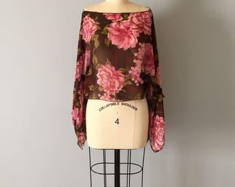 open shoulders kimono top | pink flowers cropped sheer blouse | boatneck bat kimono sleeves top