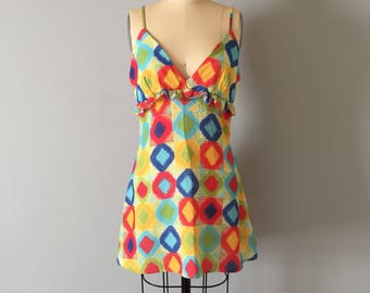 GEOMETRIC print mini dress | bright colors baby doll dress | ruffled bra top dress