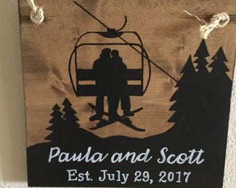 Bride and Groom on ski lift, Snowboarder, wedding, Personalized, wedding gift, bridal shower gift, rustic wood