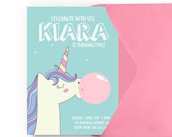 Unicorn GUM Invitation, Unicorn Birthday Invitation,Unicorn Party Invitation,Magical Unicorn Party,Rainbow Unicorn Invitation,Unicorn Invite