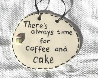 Coffee & Cake Plaque - Ceramic Plaque - Pottery Plaque - Coffee - Cake