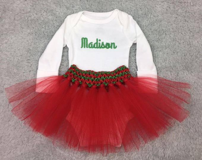 Preemie Christmas outfit - preemie girl outfit, NICU baby girl outfit, December baby girl, monogrammed baby clothes, NICU Christmas outfit
