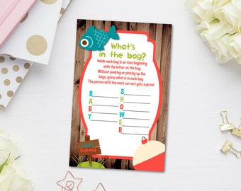 Fishing Baby Shower Games, Whatu0027s In The Bag Game, Rustic Baby Shower Games,
