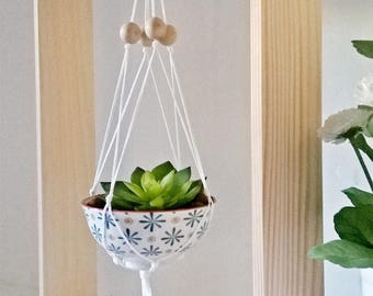 Scandinavian, Centres minimalist vegetable, suspended Frame wood, Macramé and cuts lemon yellow graphic china