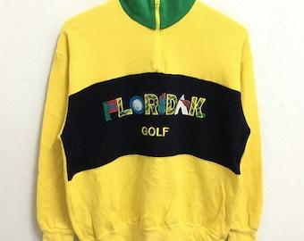 RARE!!! Floridakeys Golf Big Logo Multicolour Half Zipper Yellow Colour Sweatshirts Hip Hop Swag M Size