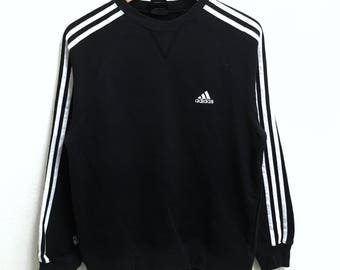 RARE!!! Adidas Equipment 3 Stripes Small Logo Embroidery Crew Neck Black Colour Sweatshirts Hip Hop Swag S Size
