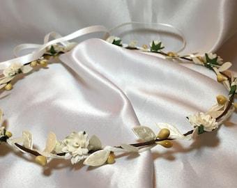 White Ivory, Flower girl crown, wedding hair, bridal accessories, communion, flower wreath, bridesmaid hair band, head piece childrens