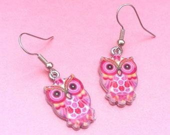 Pink owl earrings, bird jewellery, owl gift, dangle earrings, drop earrings, wise owls