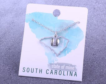 Customizable! State of Mine: South Carolina Baseball Silver Necklace - Great Baseball Mom Gift!