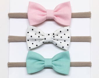 Baby Bow Headbands - Pink, White, Aqua - Bow Headbands - Clips or headbands