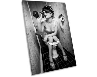 Girl Drinking on Toilet Urban Framed CANVAS WALL ART Print Picture