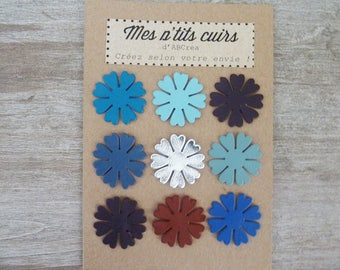 set of 9 flowers 2.8 cm leather to sew or glue