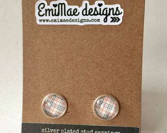 Preppy plaid stud earrings