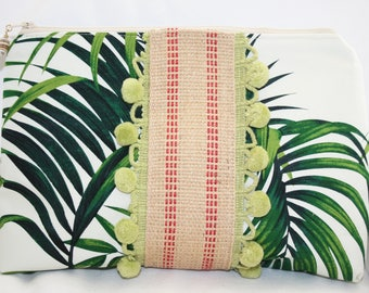 Palm Trees Zipper Clutch / Pouch with Mint Green Pom Poms and Jute - 9 (Height) x 12.25 (width) x 3.5 inches