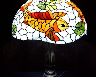 "Stained glass table lamp ""Red koi and lotus"""