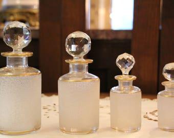 French antique Baccarat crystal vanity set, Crystal perfume bottles, Saint Louis Crystal Baccarat crystal vanity set, French Crystal gift