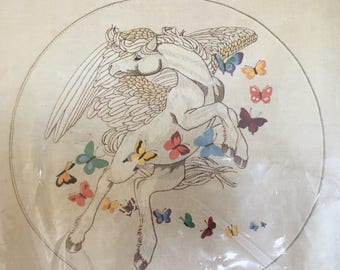 embroidery kit pegasus and butterflies 1220 designed Linda K. Powell vintage 1981 Dimensions, inc. embroidery kit crafts art hobby summer
