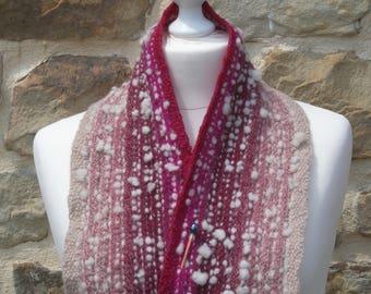 Neck-warmer scarf in pink hand spun gradient Merino