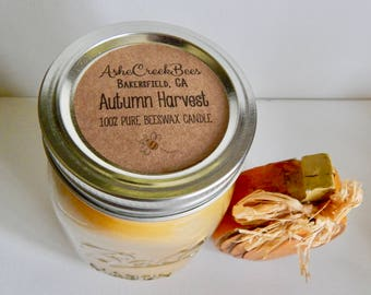 Autumn Harvest Scented 100% Pure Filtered Beeswax Candle