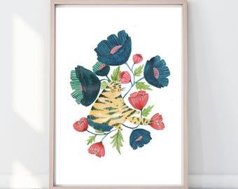 Watercolour Folk Floral Cat Print, Cat Lover Print, Cat Wall Art