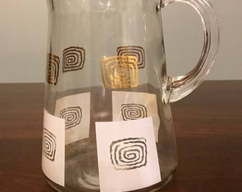 Vintage Glass 2 quart pitcher with Black and Gold Retro Swirl Design