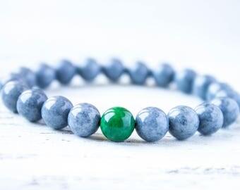 Gray Green Crystals Wrist Mala Beads Yoga Bracelet Emerald Distance Bracelet Boyfriend Promise Bracelet Cousin Bracelet Protection Amulet