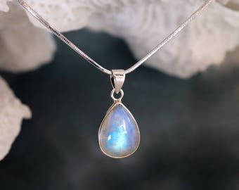 Moonstone Necklace - June Birthstone Necklace, Rainbow Moonstone Silver Pendant, Teardrop Moonstone Necklace for her, Pear Shaped Gemstone