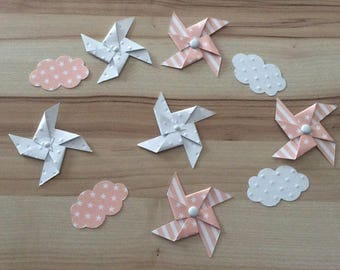 Pinwheels wind & salmon & white cloud table confetti/decorations
