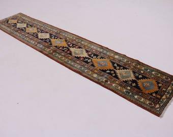 Geometric Handmade Narrow Runner Ardebil Persian Rug Oriental Area Carpet 2X11