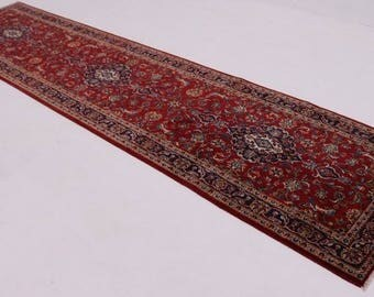 3X14 Traditional Antique Red Kashan Persian Runner Oriental Area Carpet 3'4X13'6