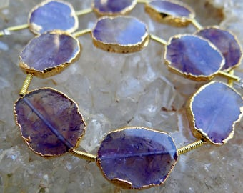 One of a Kind Gold Leafed Zambian Moss Amethyst | Center Drilled Free Form Oval Tablets | ~15x12mm | Sold in Pairs & Singles