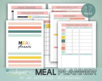 meal planner printable instant download menu planner recipe planner menu planning binder meal planner binder inserts A4 A5 US Letter sizes