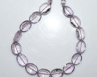"""50% OFF Pink Amethyst Concave Cut Faceted Oval Shape Beads - Pink Amethyst Concave Cut Briolette , 13.5x11 - 15x11 mm , 8.5"""" , BL1457"""