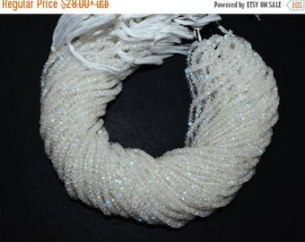 "50% OFF White Rainbow Moonstone Faceted Rondelle Beads , 13"" Strand - White Rainbow Moonstone Rondelle , 3.75 mm , MC1157"