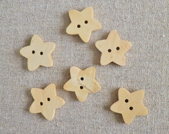 6 wood buttons star