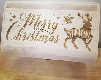 Personalised Luxury Wooden Christmas Eve Box - Engraved Stag Design.